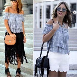 Zara Trafaluc Off Shoulder Lace Crop Top
